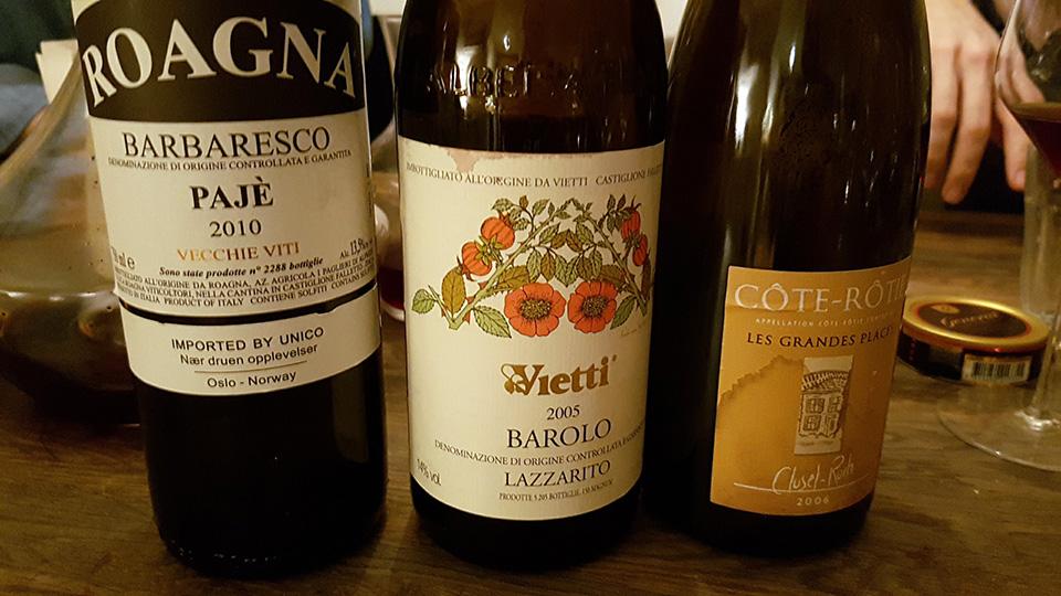 Roagna Paje 2010, Vietti Barolo Lazzarito 2005, Clusel-Roch Cotie-Rotie 2006